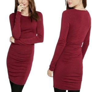 NEW Express Ruched Cranberry Sweater Dress - M